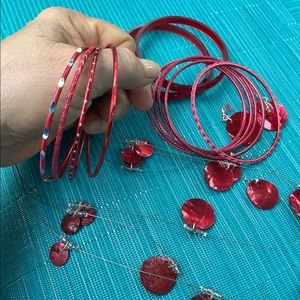 Love That Red!  Necklace, Earrings, and Bangles!